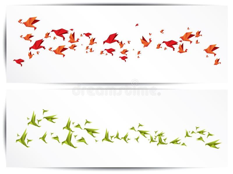 Origamidocument vogel op abstracte achtergrond stock illustratie