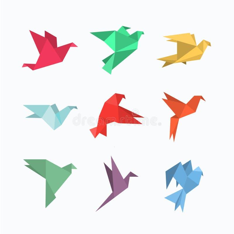 Origamidocument vogels in een vlakke stijl royalty-vrije illustratie