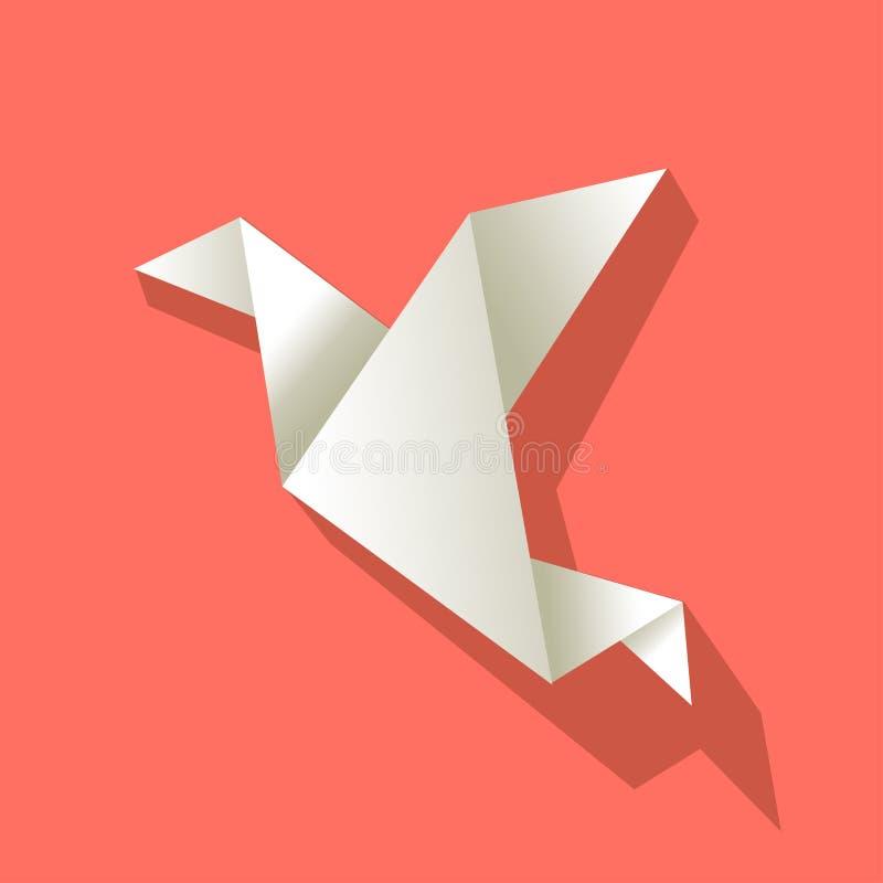 Origamidocument vogelwit op een achtergrond van de Koraalkleur vector illustratie