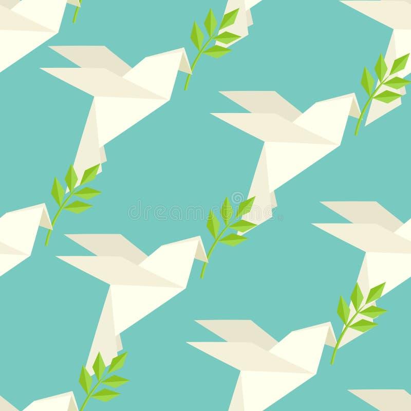 Origamiduif op patroon vector illustratie
