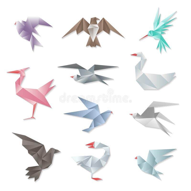 Origamifågeluppsättning För abstrakt begrepppapper för vektor 3d fåglar för flyg med vingar på vit bakgrund stock illustrationer