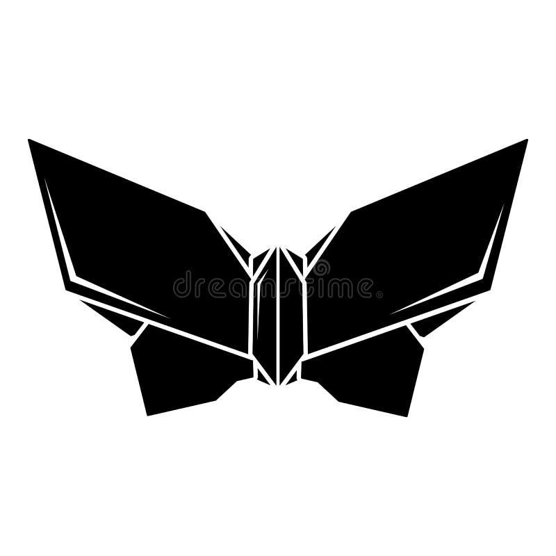 Origamifjärilssymbol, enkel svart stil stock illustrationer