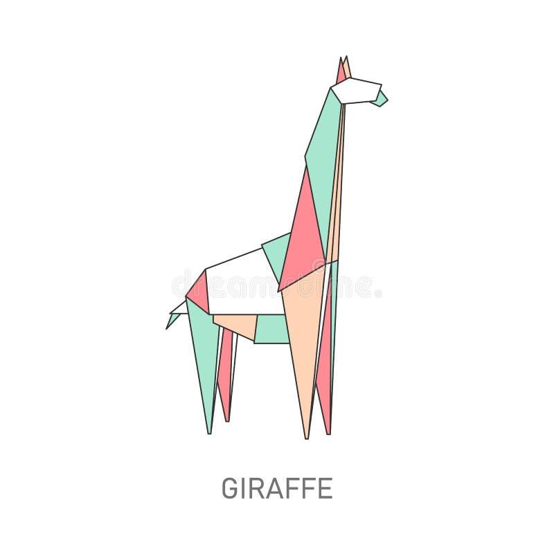 Origamigiraf van kleurrijk gevouwen document vector illustratie