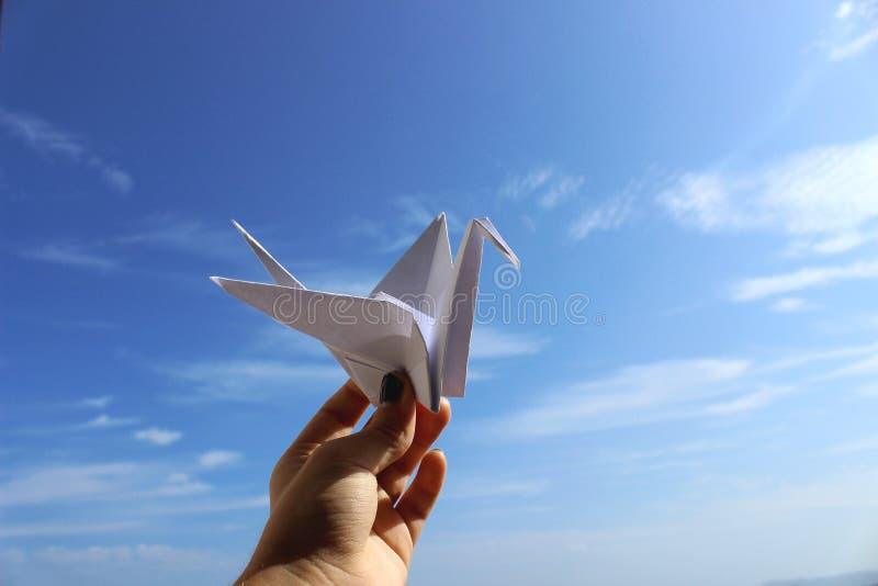 Origamikraan, shadoof stock afbeeldingen