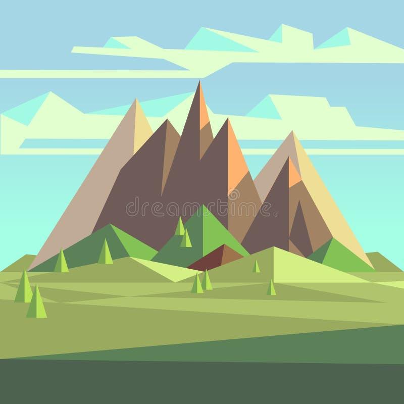 Origamin landskap i lågt poly stil 3d med berg, träd och himmel vektor illustrationer