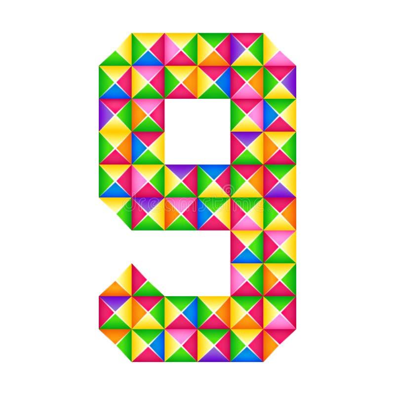 Origamin numrerar effekt för 9 nionde isolerade realistiska origami 3D Diagram av alfabetet, siffra royaltyfri illustrationer