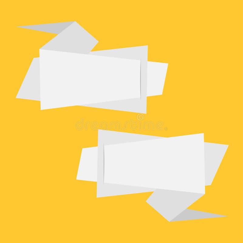 Origamin skyler över brister baneruppsättningen Abstrakt geometrisk prislappklistermärke Gul bakgrund isolerat Plan meterial desi vektor illustrationer