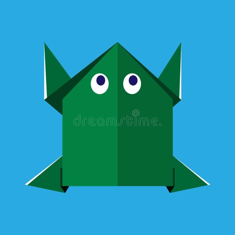 Origamin skyler över brister den gröna grodan royaltyfri foto