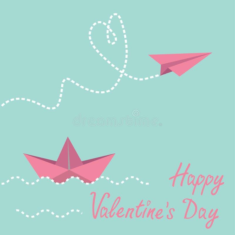 Origamin skyler över brister fartyg- och pappersnivån. Lyckligt valentindagkort. stock illustrationer