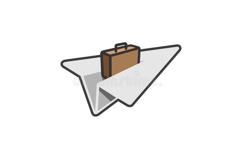 Origamin skyler över brister idérik luftlogo för symboliskt flygplan stock illustrationer