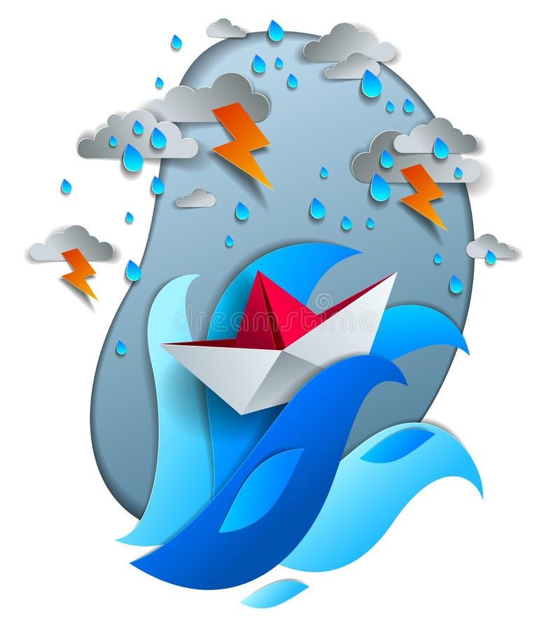 Origamin skyler över brister skeppleksaken som simmar i åskväder med blixt, dramatisk vektorillustration av stormigt regnigt väde royaltyfri illustrationer
