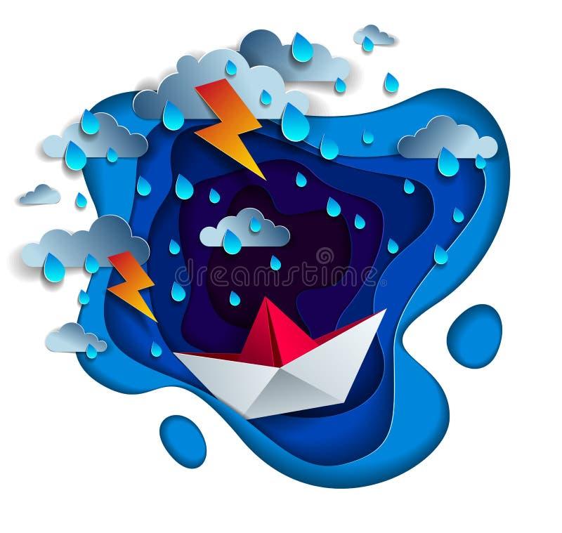 Origamin skyler över brister skeppleksaken som simmar i åskväder med blixt, dramatisk vektorillustration av stormigt regnigt väde vektor illustrationer