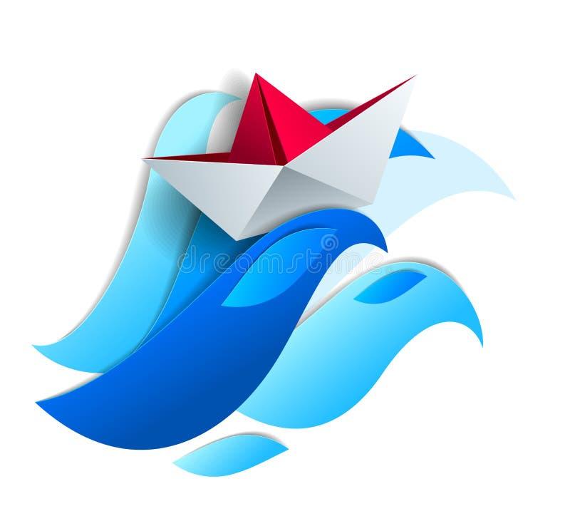 Origamin skyler över brister skeppleksaksimning på enorma havvågor, dramatisk ve royaltyfri illustrationer