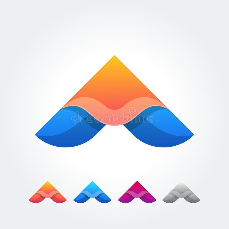 Origamin spelar knapplogo i materiell designstil vektor illustrationer