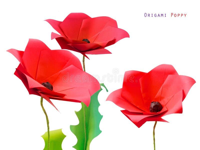 Origamipapaver flower3 royalty-vrije stock foto's