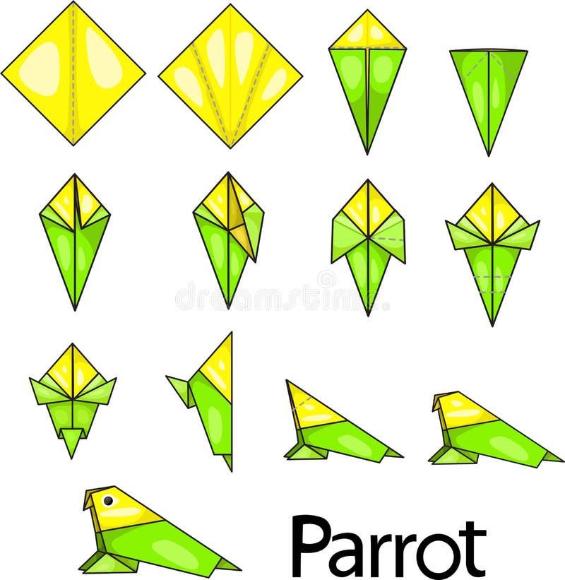 Origamipapegaai royalty-vrije illustratie