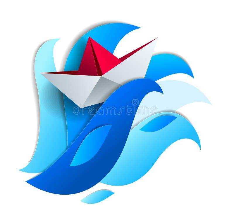 Origamipapierschiffs-Spielzeugschwimmen auf enormen Meereswogen, drastische Vektorillustration des stürmischen Wetters im Ozean m stock abbildung