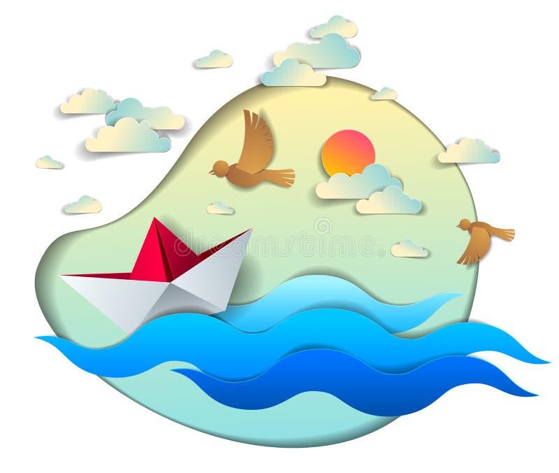 Origamipapierschiffs-Spielzeugschwimmen in den Meereswogen, sch?ne Vektorillustration des szenischen Meerblicks mit dem Spielzeug lizenzfreie abbildung