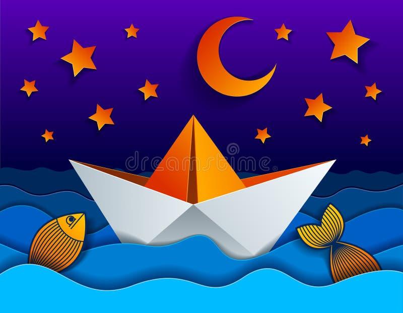 Origamipapierschiffs-Spielzeugschwimmen in der Nacht mit Mond und Sternen stock abbildung