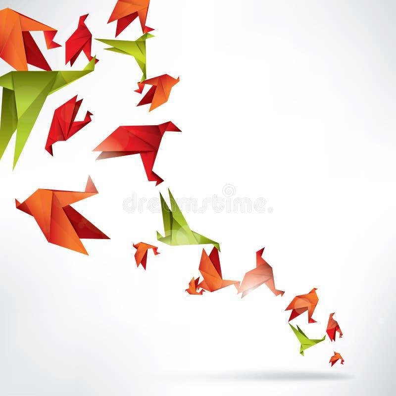 Origamipapiervogel auf abstraktem Hintergrund lizenzfreie abbildung