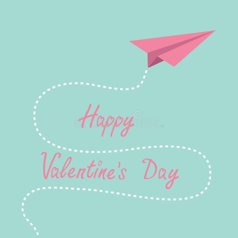 Origamirosa Papierfläche. Strichlinie im Himmel. Glückliche Valentinsgrüße lizenzfreie abbildung
