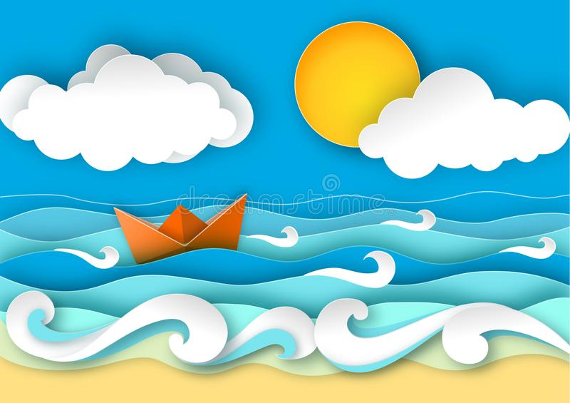 Origamisegelboot hergestellt vom Papier Meereswellen und tropischer Strand in der Papierkunstart Reisekonzept-Vektorillustration lizenzfreie abbildung
