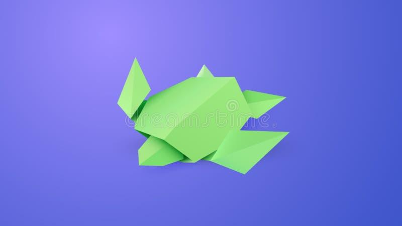 Origamisköldpadda i vattenvektorkonst vektor illustrationer
