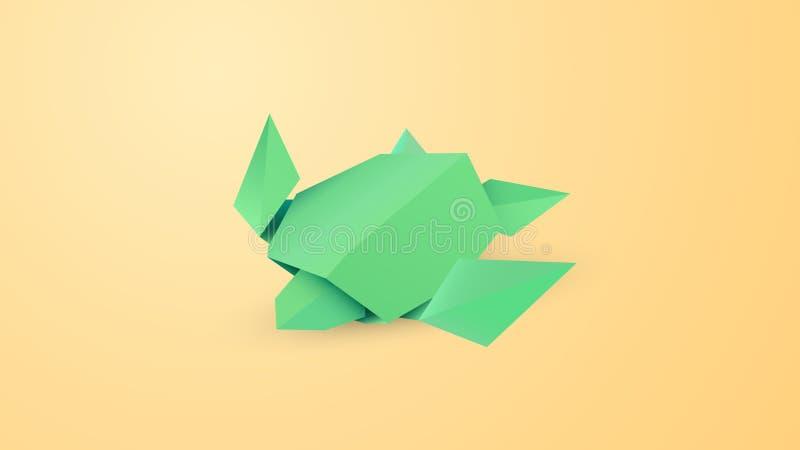 Origamisköldpadda på sandvektorkonst royaltyfri illustrationer