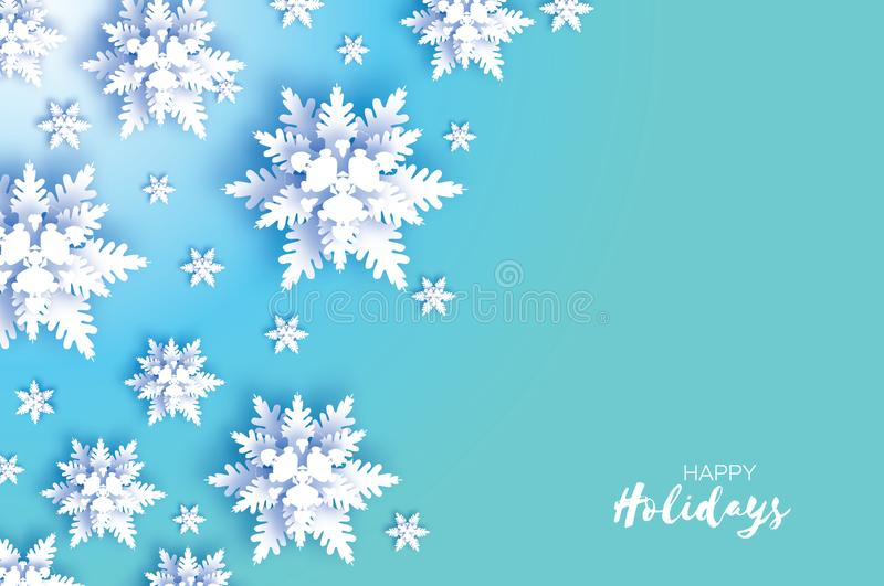 Origamisnöfall Glatt julhälsningskort Flinga för vitboksnittsnö lyckligt nytt år För en bakgrund, ett papper eller textilar, etc royaltyfri illustrationer