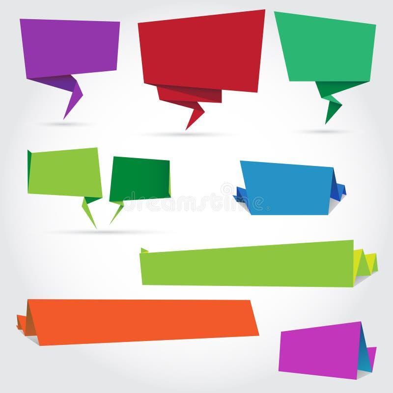 Origamispracheblasen und -fahnen stock abbildung