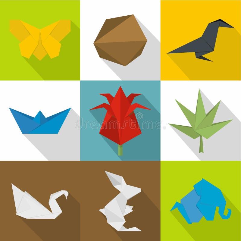 Origamisymboler uppsättning, tecknad filmstil royaltyfri illustrationer