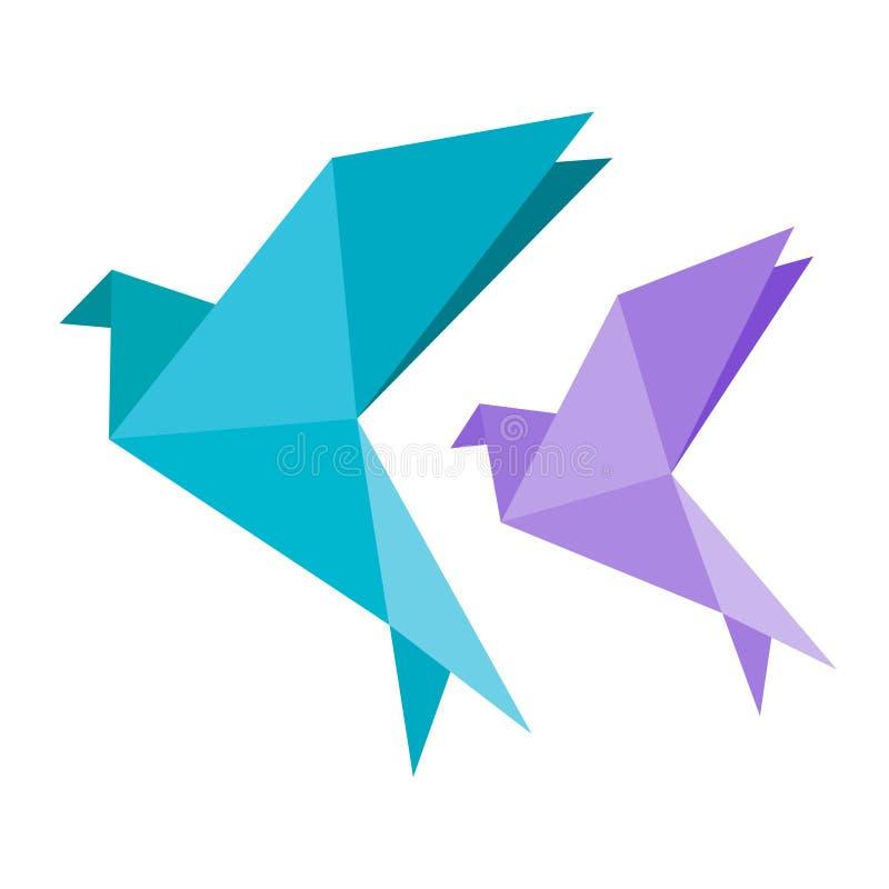 Origamitauben-Vogelblau und vilotet Ikone Geometrische Linie Form für Kunst des gefalteten Papiers Einfacher flacher Vektor eps10 stock abbildung