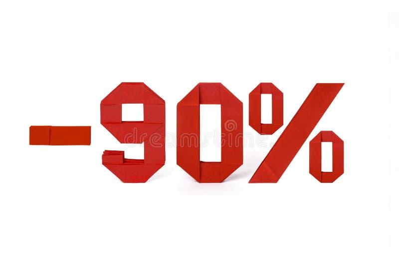 Origamitext av rabattförsäljningen 90 procent arkivfoton
