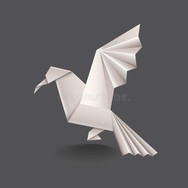 Origamivogel op donkere vector wordt geïsoleerd die stock illustratie