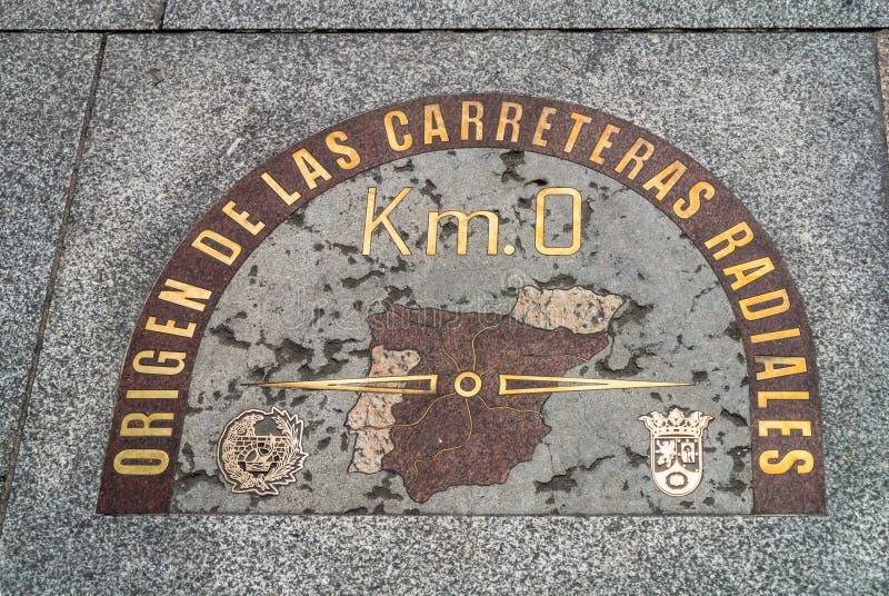 Origem quilômetro Estradas de 0 radiais no Madri, Espanha fotografia de stock