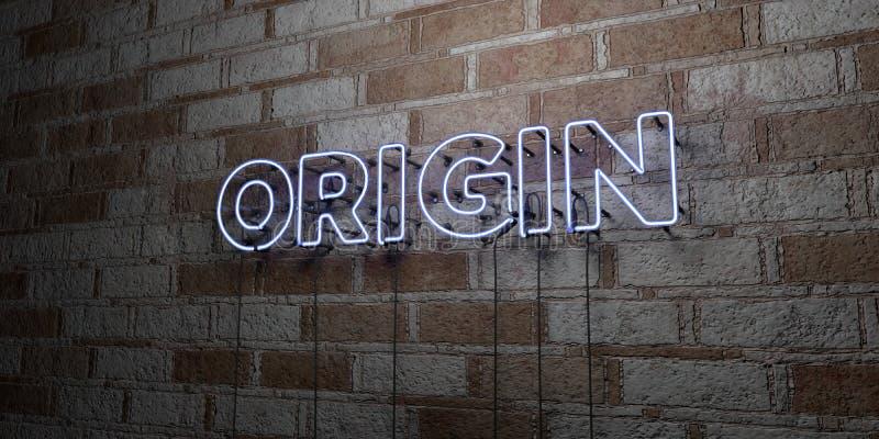 ORIGEM - Sinal de néon de incandescência na parede da alvenaria - 3D rendeu a ilustração conservada em estoque livre dos direitos ilustração royalty free