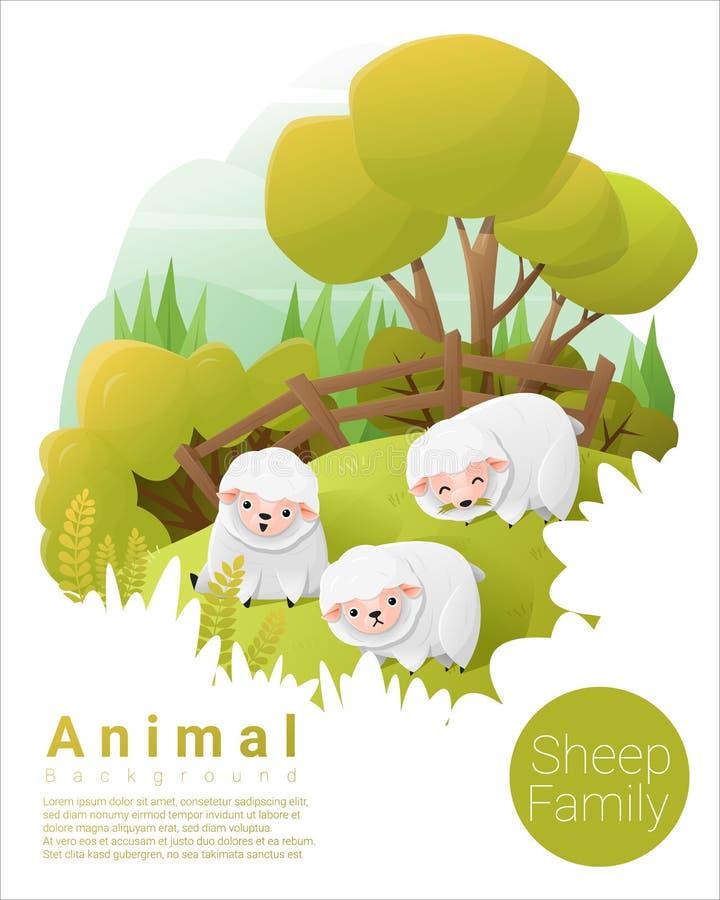 Origen familiar animal lindo con las ovejas stock de ilustración
