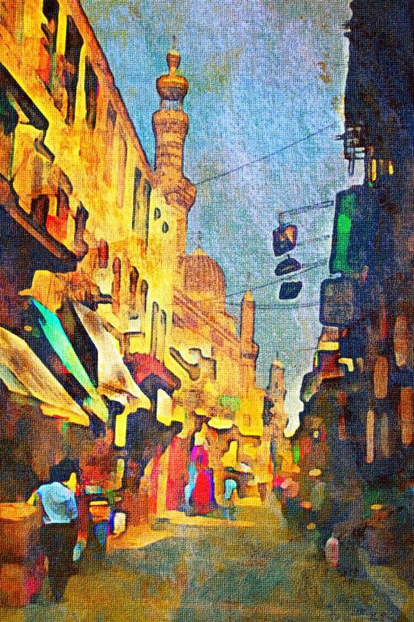 Origianl oil painting. Of egypt cairo market place vector illustration