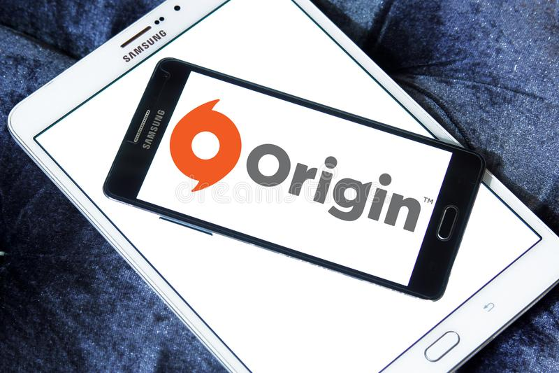 Origin digital distribution software logo. Logo of Origin digital distribution software on samsung mobile. Origin is an online gaming, digital distribution and royalty free stock photos