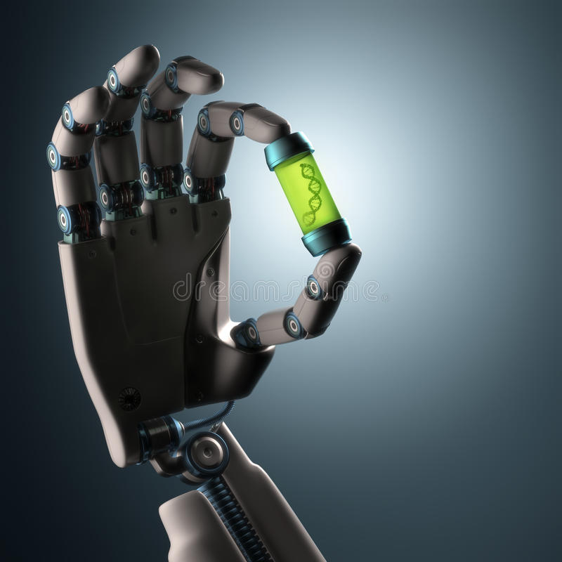 Origin Of Life. Robotic hand holding a test tube with a dna inside. Technology concept manipulating organic life. Clipping path included stock photography