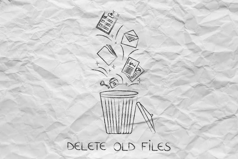 Originais e arquivos que caem em um escaninho e que obtêm suprimidos ilustração royalty free