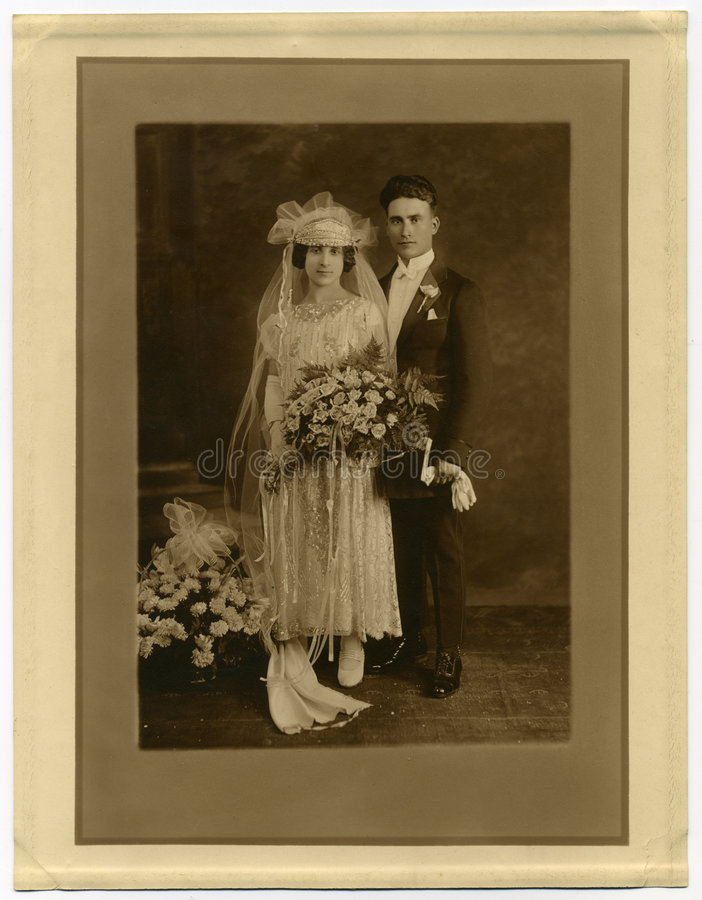 Download Original 1925 Antique Photo- Marriage Stock Image - Image of husband, husbands: 1525045