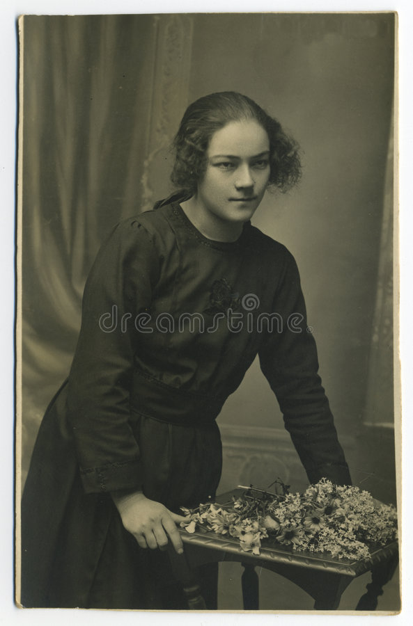 Original 1925 antique photo - young woman stock images