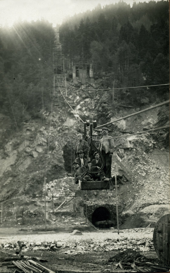 Original 1930 antique photo-miners. This original antique photograph is taken near a french mine in 1930 stock photo