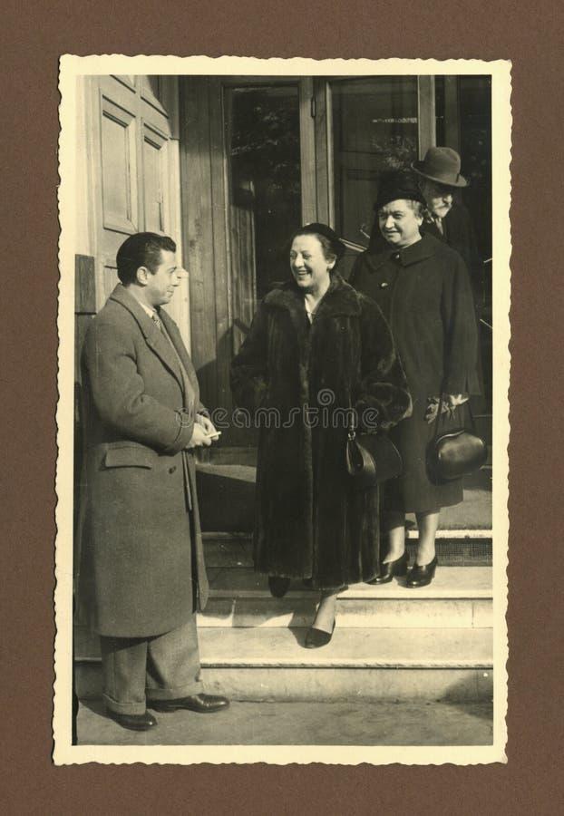 Original 1945 antique photo - meeting royalty free stock photos