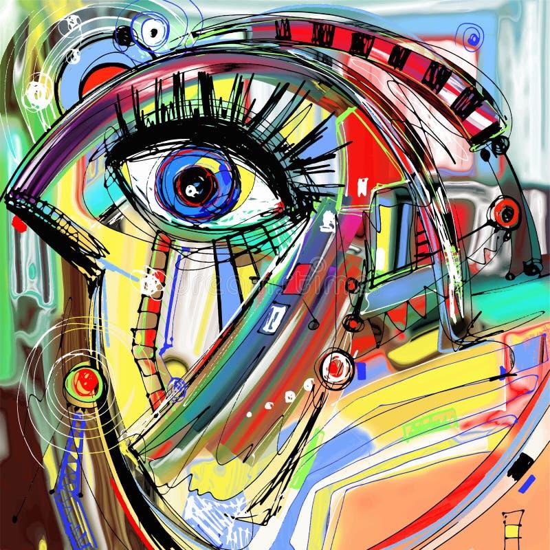 Original abstract digital painting artwork of. Doodle bird, colored poster print pattern, vector illustration royalty free illustration
