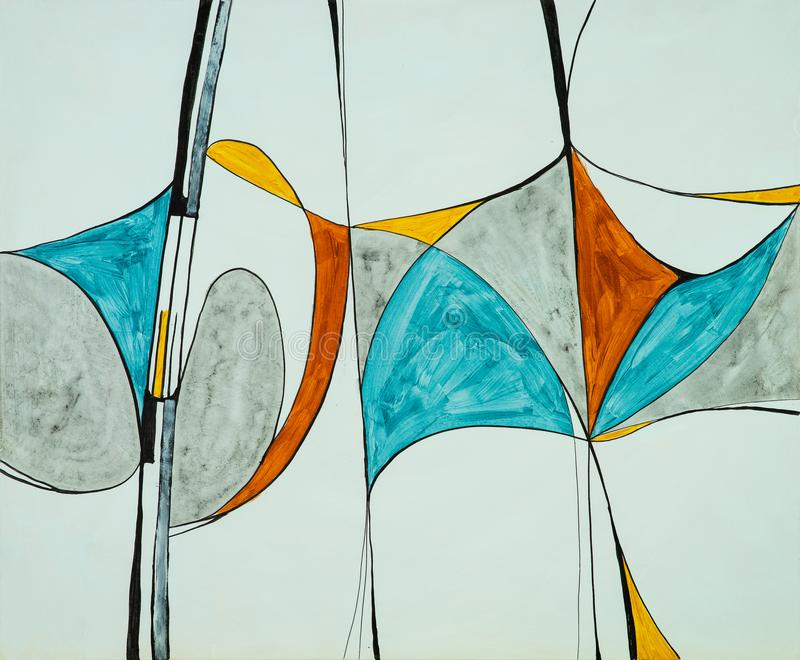 An original abstract watercolour painting; Fractured theme.  stock photo