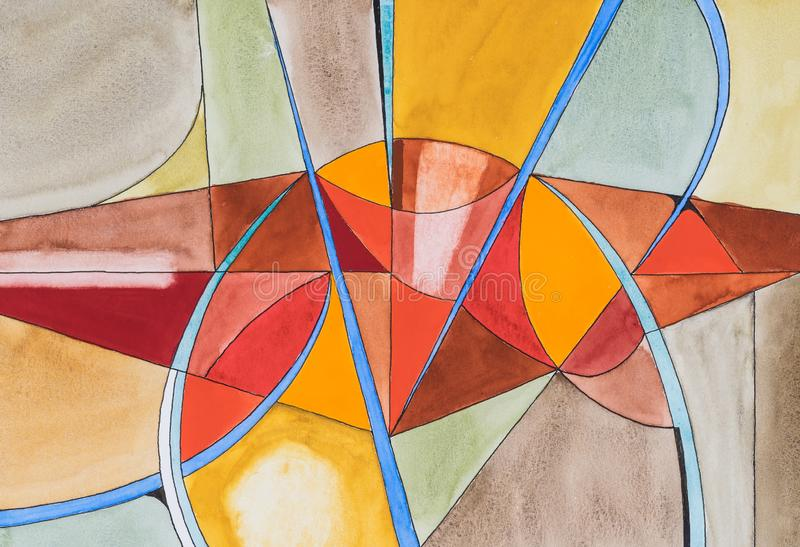 An original abstract watercolour painting; Fractured theme, warm colours. An abstract watercolour painting; Fractured theme, warm colours stock image