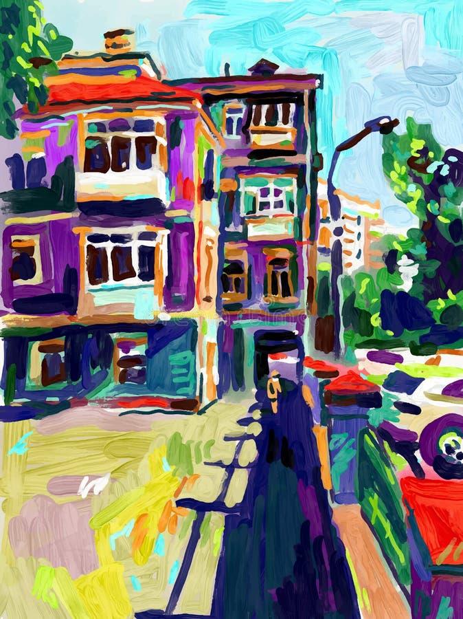 Original air digital oil painting, town old street in summ stock illustration