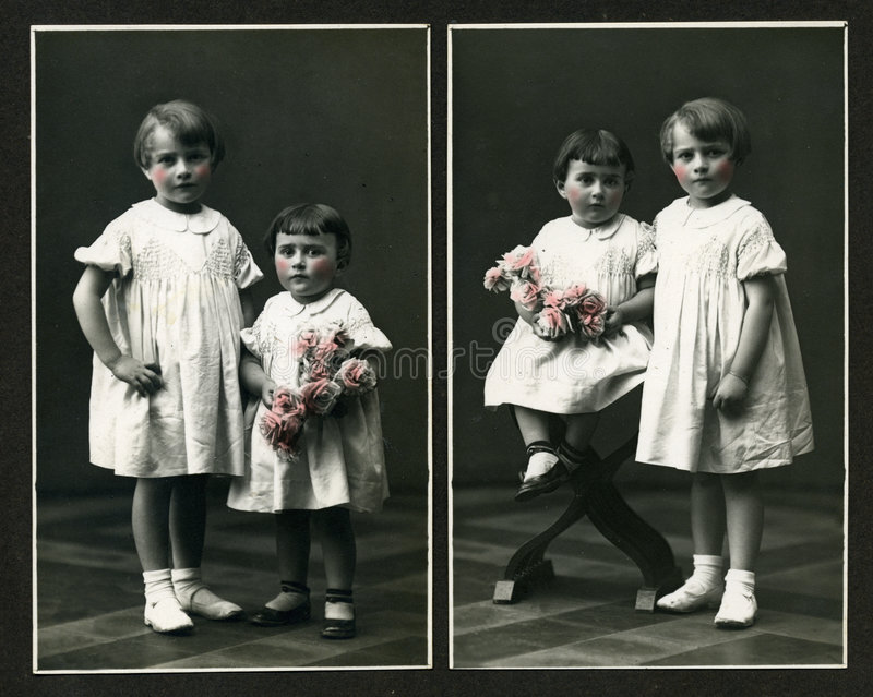 Download Original Antique Photo - Young Girls With Flowers Stock Image - Image: 1524979